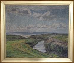 Niels Holbak.  1884 - 1954 . Maleri (kystparti)