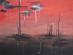 Birgitte Nora Frandsen.  1948 -   .  Maleri  ( Smerte)