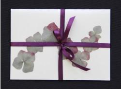 Blomsterkort med tørrede hortensia blomster af Nora - mørkt bånd