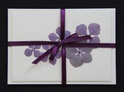 Blomsterkort med tørrede hortensia blomster af Nora - mørkt bånd-kuvert