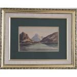 Emanuel Aage Petersen.  1894-1948 . Akvarel (Grønland, Godthåbsfjorden)