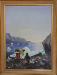 Evelyn Thorbjørn. 1911 - 1985 . Maleri (Grønland, drikkevand)
