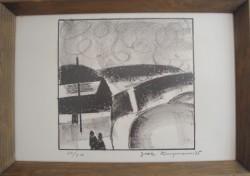 Jack Kampmann .  1914 - 1989 .  Litografi (Færøerne, Bygd)