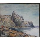 Alibak Johansen. 1921 - 2007 . Maleri (Grønland, bjerglandskab)