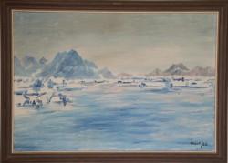Alibak Johansen. 1921 - 2007.  Maleri (Grønland, fjord)