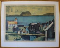 Jack Kampmann .  1914 - 1989 .  Litografi (Færøerne, Thorshavn/Nolsoy)