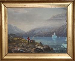 Evelyn Thorbjørn. 1911 - 1985. Maleri (Grønland, bålplads)