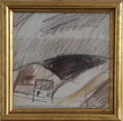 Jack Kampmann.  1914 - 1989 .  Olie kridt på papir (Færøerne, landskab)