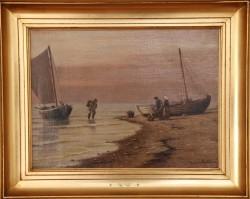 Johan Neumann.  1860 - 1940 .  Maleri (Fisker)