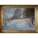 Harald Pryn .  1891 - 1968 .  Maleri (Vinterlandskab)