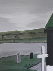 Birgitte Nora Frandsen.  1948 -    .  Maleri ( Færøerne, Kaldbak kirke )